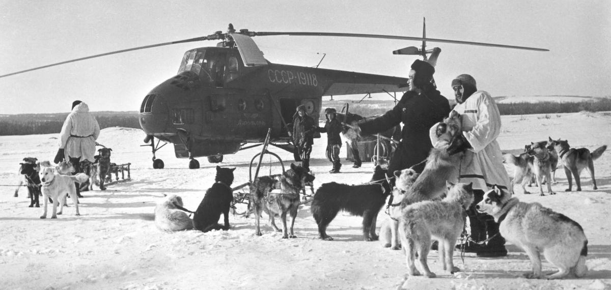 Ми-4 и собачки в тундре..jpg